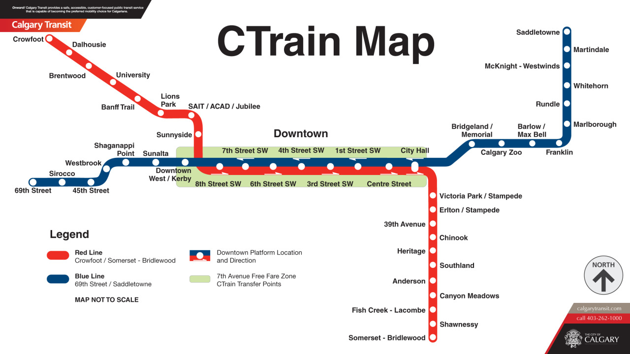 "Official Map: CTrain, Calgary, Canada Lots of people have requested this map, but I've held off for a while as some extensions to the system and amendments to the map itself have been made. Calgary Transit actually released a preliminary version of this map last year and asked for public input on it via an on-line survey, which is good to see. However, it's not the most thrilling map, and there's still one quirk with it that could cause some confusion. Have we been there? No. What we like: Clean, minimal, easy-to-follow design. No extraneous bells and whistles to get in the way of a relatively simple system. What we don't like: I really don't see the need to alternate the station labels between the left and right hand side of the route lines when they run vertically. The names would be much easier to quickly read if they just ran underneath each other to the right of the route line, much like a bulleted list. It looks particularly odd on the southern part of the Red Line, where Victoria Park/Stampede and Elton/Stampede are both to the right, and then the rest alternate. The quirk I mention above regards the handling of the stations along 7th Avenue in the ""Downtown Area"" of the map. City Hall is the only station in the section where both lines run that serves both directions of travel — the rest of the stations alternate directions. The 1st, 4th and 7th Street stops serve all westbound trains, and the 8th, 6th, 3rd and Centre Steet stops serve all eastbound trains. The designers have tried to show this by use of a directional arrow near each station. However, by placing these arrows within the coloured route lines, it could be interpreted that only Blue Line trains travel west and only Red Line trains travel east along this corridor. This ambiguity could have been averted by placing the arrows within the station dots or next to the station names themselves, where it would be almost impossible to misinterpret their intention. However, the approach used here is still markedly better than the one used on the preliminary sample map, which placed the dots for all westbound trains in the Blue Line, and all eastbound dots in the Red Line! Now that would have been confusing! Our rating: Workmanlike and honest, if a little dull. Two-and-a-half stars.  (Source: Official Calgary Transit website)"