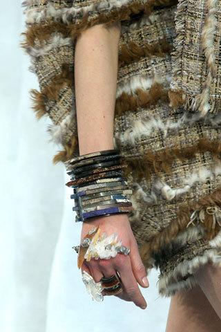 Heavy stacks & natural stones were all the trend @ Chanel, PFW. Again, very much on trend with our new Terra Collection!