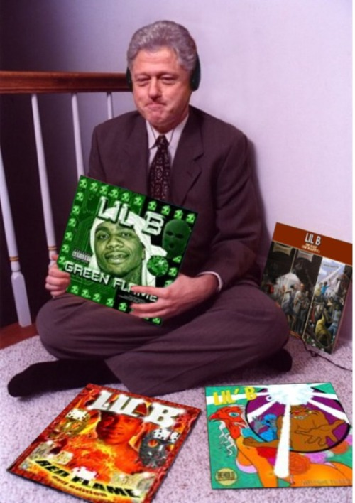 twoandahalfchainz:  BASED CLINTON LOVES LIL B MUSIC