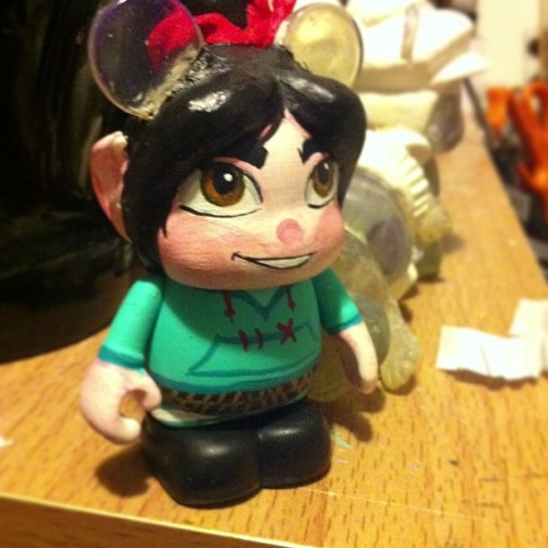 The chaser for my series! Vanellope Von Schweetz! I think thats how you spell it, not done yet still needs little touches!   #disney #disneyart #vinylmation #custom #series #sugarrush  #wreckitralph #vanellope