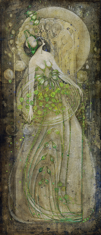 birdsong217:  Margaret MacDonald Mackintosh (1864-1933) Junirosen, 1898. Pencil and watercolours on paper.