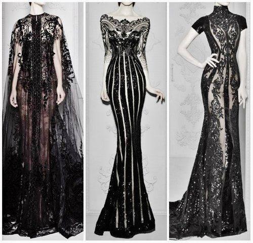 dresses couture michael cinco black dress