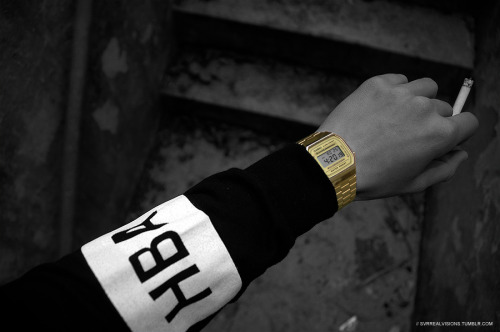 svrrealvisions:  hood by air, casio gold digital watch, 420