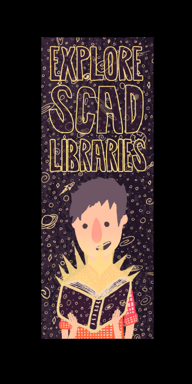 """Explore Scad Libraries""  Submission for Scad Libraries bookmark competition. 2013  Traditionally inked, colored in photshop."