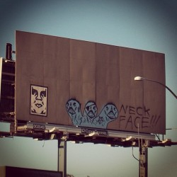 @dj_gmo from @obeyclothing shot this #neckface vs #obeygiant billboard in Costa Mesa, CA in 2005. The pieces appeared during the Beautiful Losers exhibition at the Orange County Museum of Art in Newport Beach, CA. #beautifullosers