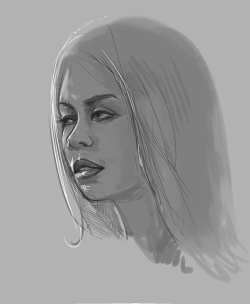 Midnight study, lighting and shading of a female face from scratch, 20 minutes, reference used, Photoshop and Intuos.