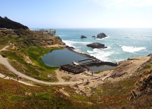 Sutro baths panorama from Coastal Trail at Lands End; the Cliff House and camera obscura in the distance. Any day over 70 degrees is a magical day in the city.
