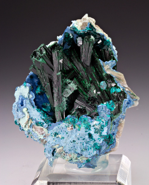 fuckyeahmineralogy:  Malachite with shattuckite and dioptase; Kunene Region, Namibia