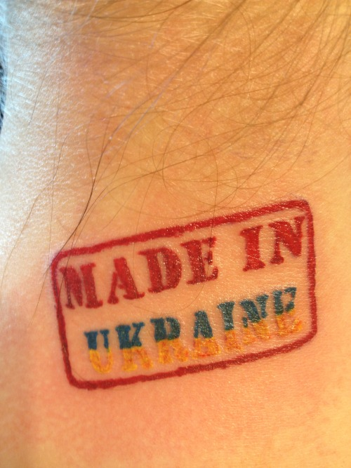 fuckyeahtattoos:  I was born in Ukraine and lived my whole life there till I turned 22…Now I live in USA for three years already…I love it but I miss my friends and my family…and I'm proud of being born and raised in Ukraine. Blue and yellow are the colors of my flag…done by Bruno Corso CA/USA