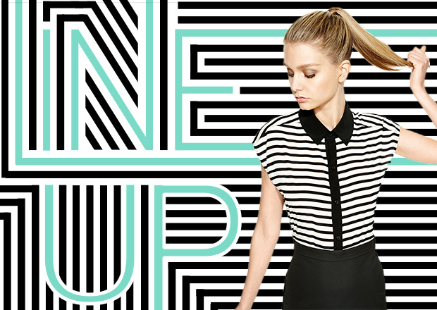 LINE 'EM UP These striped looks will have you styling, bar none. Shop and explore our newest trend report now:http://www.dkny.com/new/trend-reports/line-up