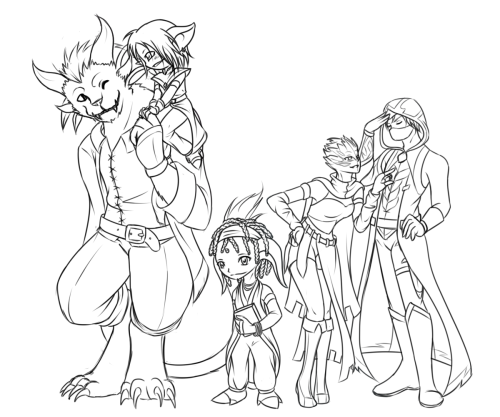 sketch of all my Guild Wars OCs! ♥ fltr:Schmendrick RuinpawImeéLyxxíLyssamiAlthod Cotts