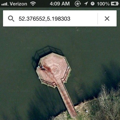 9gag:  Go on Google Maps. Type in: 52.376552,5.198303 and you'll see a man dragging a body into a lake..😐