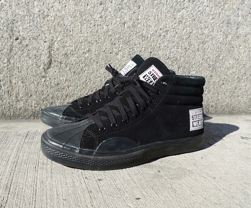"SUEDE HI BY VISION STREET WEAR Anyone who lived through the '80s and '90s, ever bought a 411 Video Mag on VHS, or saw The Wizard' probably remembers the super iconic Vision Street Wear logo. The company was actually started in 1976 and gained early skate fame via sponsored skaters like Mark Gonzales and iconic skate decks like the ""PsychoStick""…. read more"