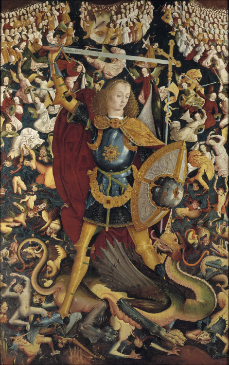 Master of Zafra - San Miguel Arcangel (Saint Michael the Archangel); Museo del Prado, Madrid, Spain; c.1495 - 1500 Quis ut Deus?