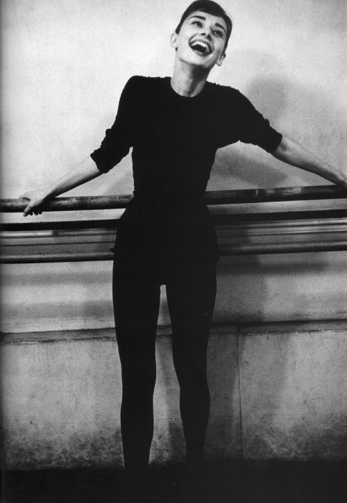 Audrey Hepburn at the barre.