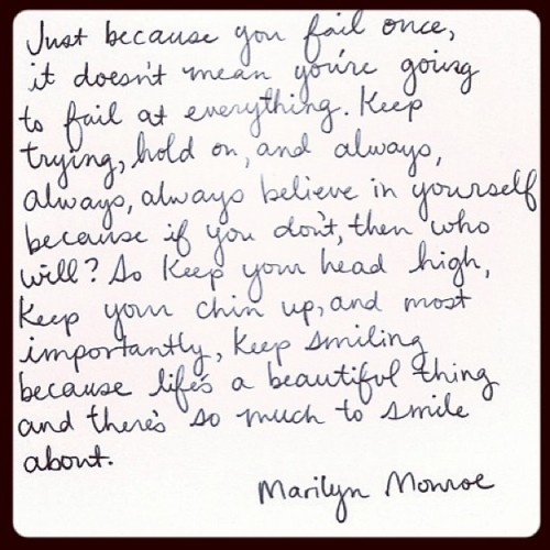 wereourobsession:  #quote #marilynmonroe #withlove 💋💌 signed, sealed and delivered #love #failure standup
