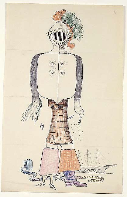 Exquisite Corpse by Andre Breton, Man Ray, Max Morise, and Yves Tanguy, ca 1927  One of the oldest Surrealist games is Exquisite Corpse. Fold the piece of paper into thirds (or as many sections as there are palyers). The first player draws a head and neck in the top section, extending the lines of the neck just below the fold, then folds it over and passes it to the next player, who continues the drawing without looking at what the previous player has drawn. The second player draws the torso, also extending the lines just below the fold, then passes it to the third player who draws the legs and feet. The final product is called the exquisite corpse. This game can also be played using collage instead of drawing, and online at Draw and Fold Over. Note: you don't have to draw people! Your section of the picture can be anything you like, as long as it connects to the lines left for you by the previous player. For more information and ideas, visit ExquisiteCorpse.com