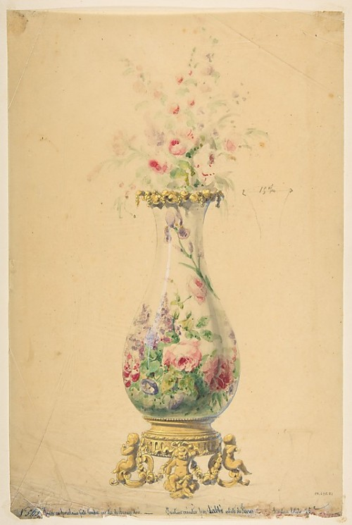 lesrosiers:  Design for a Vase, design by Louis-Charles Labbé French, 19th century