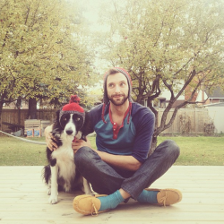 menandtheirdogs:   Photographer Andrew Knapp with his trusty border collie, Momo. Knapp has photographed his dog artfully hiding in the frame of each picture. (Photo by Andrew Knapp)   He also has a Tumblr…findmomo. Since he only posts once, in the morning, I find myself looking forward to finding Momo every day. I can't 'like' it until I find him.