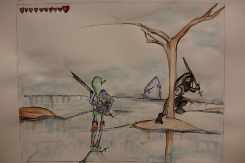 Link vs Dark Link  ((may definitely be my favorite part of Ocarina of Time if not all LOZ games, the moment you enter into the dream like sequence and everything is so still and quiet and you see the door ahead and you are all like, oh easy passing through, when bam, dark link appears and you quickly notice you are battling yourself. One of the most iconic things about this game.))