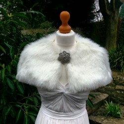 Cropped fur cape close up