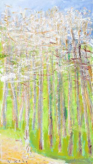 Wolf Kahn, Orchard in the Spring, 2012. Oil on canvas, 32 x 18 inches.