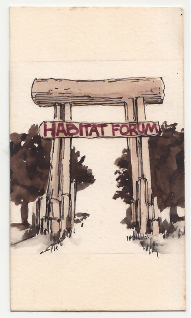 From a box of Habitat Forum archival material located by Don Stewart at MacLeod's Books. Lindsay Brown, curator of all things Habitat 76 writes on her site:   The clipping scrapbook is beautifully assembled and featured this tiny watercolour painting (no more than 1″ wide) of the main gate at Habitat.