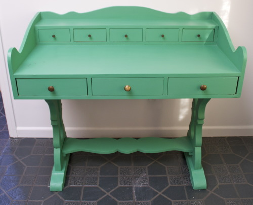 "Mix the old with the new! love the curvy lines and fun summer color. Green desk- painted with Annie Sloan Chalk Paint 24""D 43.5W 36.5Hsold"