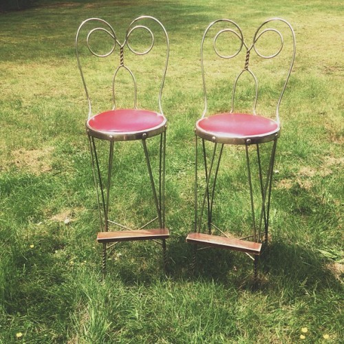 "Got a sweet deal on these stools for looking like ""Audrey Hepburn's granddaughter"" Win win."