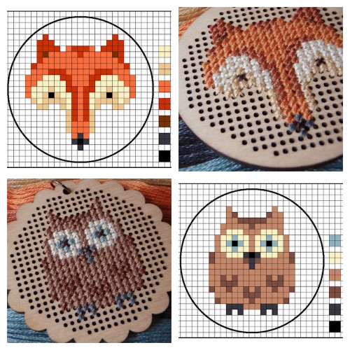 DIY Easy Fox and Owl Cross Stitch Patterns from Lucykate Crafts… These designs would be really cute as patches. You can buy the rather expensive pendants here. For the most amazing cross stitch generator ever go here. For cross stitch DIYs go here: truebluemeandyou.tumblr.com/tagged/cross-stitch Fox Pattern here. Owl Pattern here.