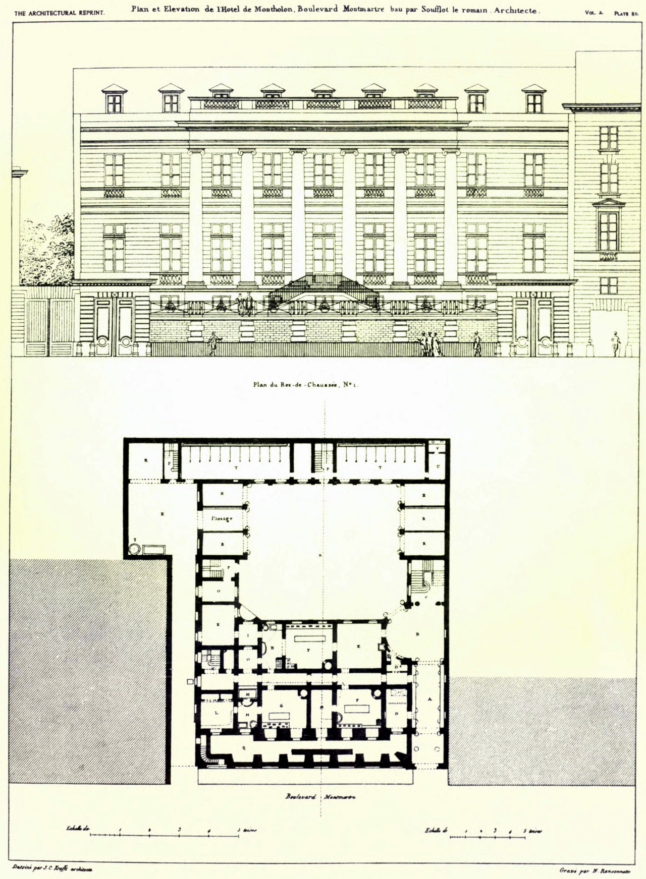 Elevation and plan of Soufflot's Hôtel de Montholon on Boulevard Montmartre, Paris