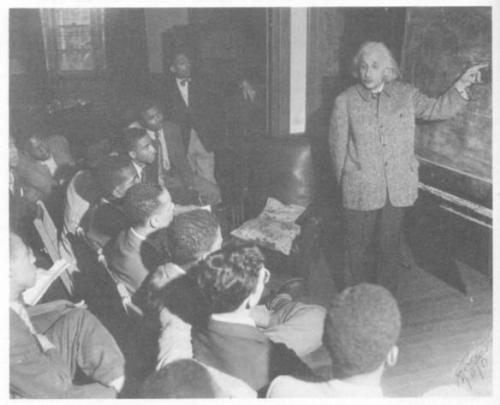"nefermaathotep:  Einstein addressing students at Lincoln University, May 1946.""As for the Negroes this country still has a heavy debt to discharge for all the troubles and disabilities it has laid on the Negro's shoulders; for all that his fellow-citizens have done and to some extent are still doing to him. To the Negro and his wonderful songs and choirs we owe the finest contribution in the realm of art which America has so far given to the world. And this great gift we owe, not to those whose names are engraved on this 'Wall of Fame' but to children of the people, blossoming namelessly as the lilies of the field."" [5]""There is … a somber point in the social outlook of Americans … Their sense of equality and human dignity is mainly limited to men of white skins. Even among these there are prejudices of which I as a Jew am dearly conscious; but they are unimportant in comparison with the attitude of 'Whites' toward their fellow-citizens of darker complexion, particularly toward Negroes. … The more I feel an American, the more this situation pains me. I can escape the feeling of complicity in it only by speaking out."" Racism is America's greatest disease"" and ""Racism is a disease of the white man."" Albert Einstein"