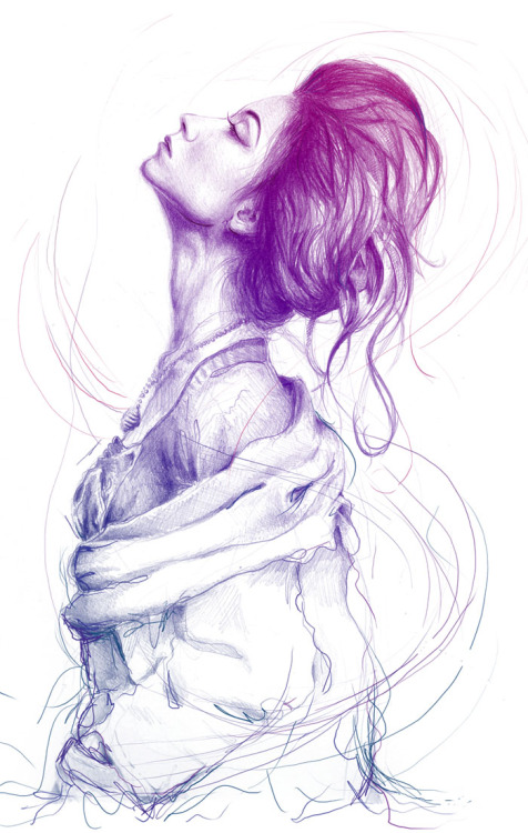 artforadults:  olechka:  Pencil drawing layered with photoshop. Available On T-SHIRT.