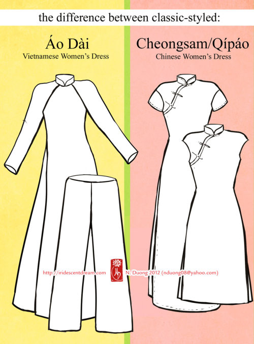 [Image description: Differences between Ao Dai and Qipao are pointed out.] via iridescentdream.com