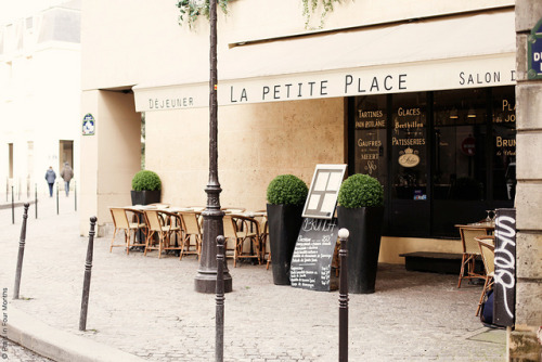 | ♕ |  Street cafe in Le Marais, Paris  | by © Carin Olsson | via ysvoice