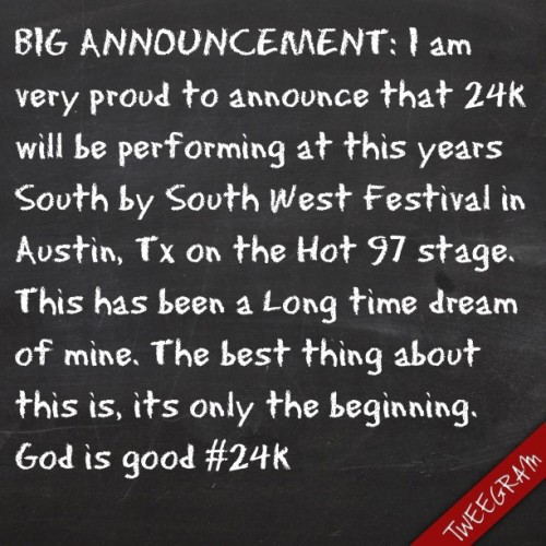 Dreams do come true! #blessed #24k #ie #sxsw #texas #music #musicfestival #hiphop
