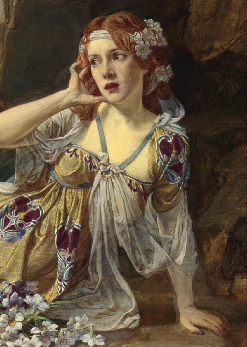 "the-garden-of-delights:  ""Echo"" (detail) (1900) by Talbot Hughes (1869-1942)."