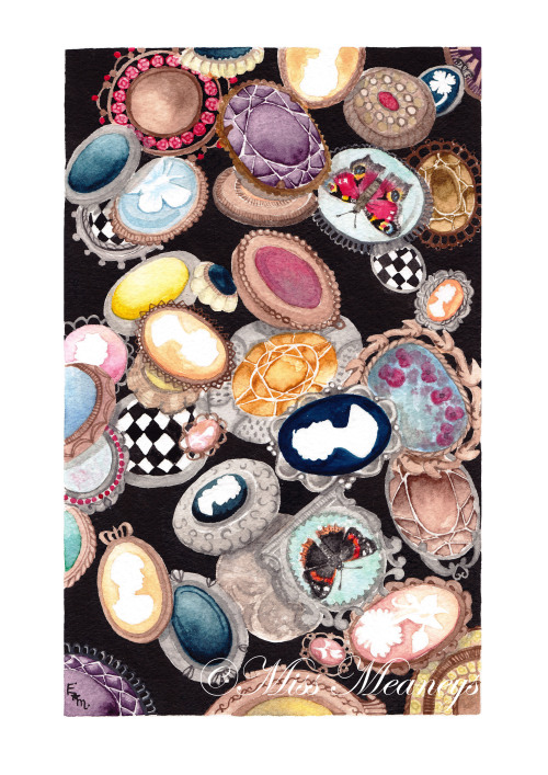 'Collection of brooches'  watercolour print now up for sale.  Inspired by victorian jewellery, i decided to to a a4 Watercolour, hope you like this? where to purchase it? click on this link below :) http://missmeaneys.bigcartel.com/product/collection-of-brooches