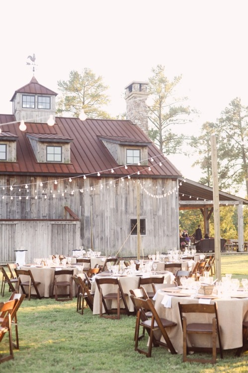 happilyeverafterblog:  Beautiful barn wedding reception
