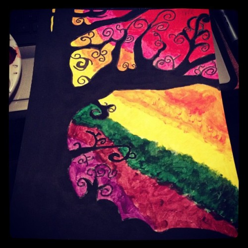 Painting number two : ) #art #paint #colors #tree #rainbow #black