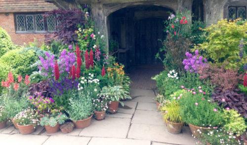 great dixter christopher lloyd flowers container plants doorway sussex england