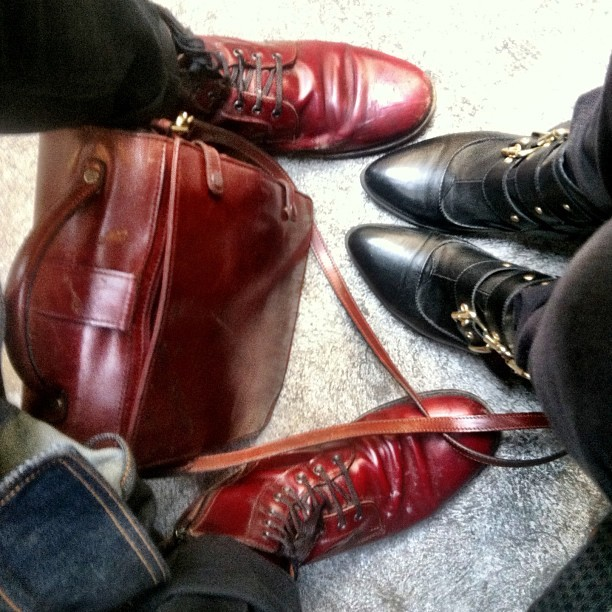 Leather fan club. @notoriousbhc #dtla #vintage #ootd #shoes #leather #manbag  (at Spring + 6th)
