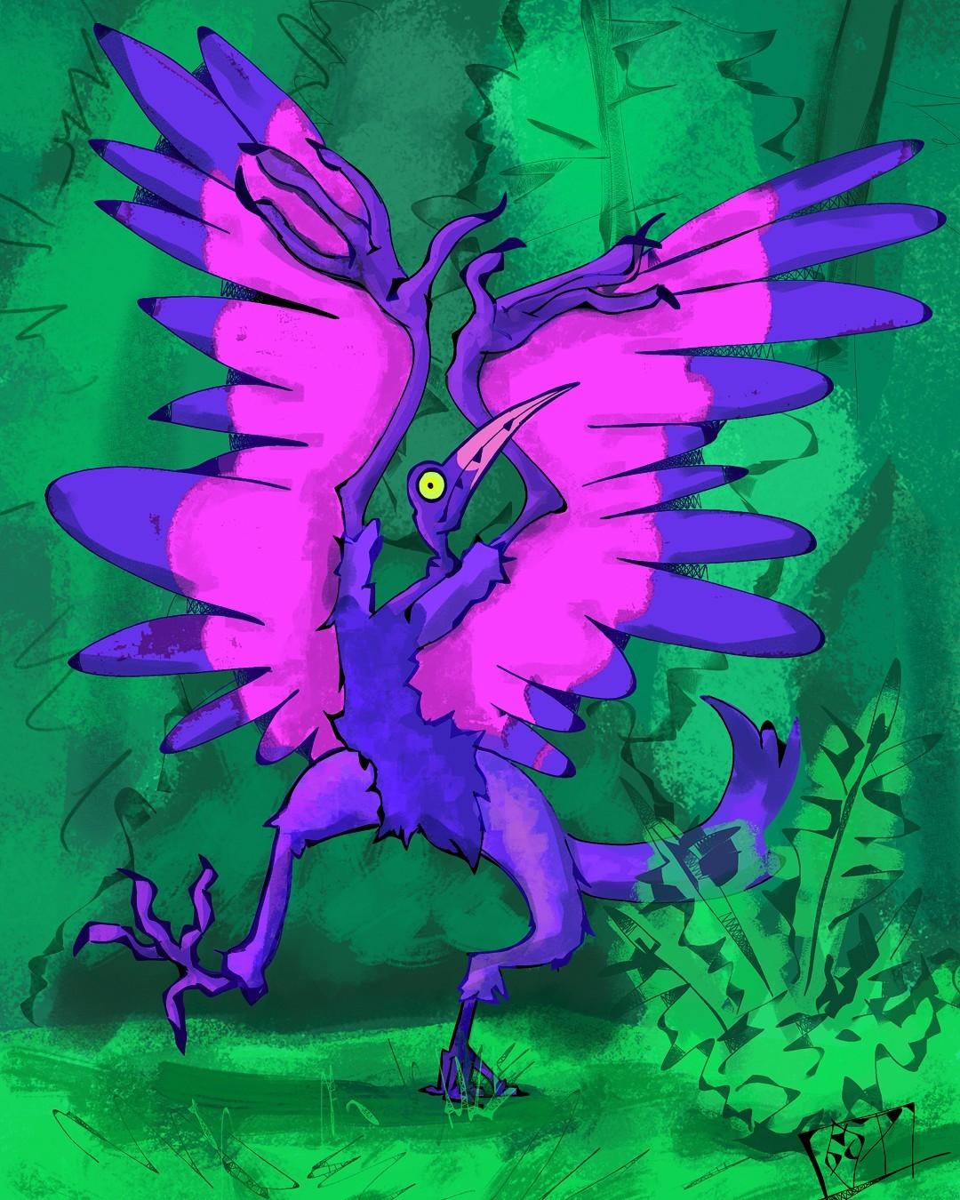 I forgot I made this dino some time ago, I added some grass behind it #dinosaur#illustration#art#digital#krita#birb