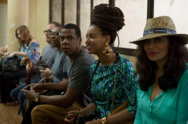Jay, Bey, and Mama Knowles at University of Arts in Havana, Cuba.