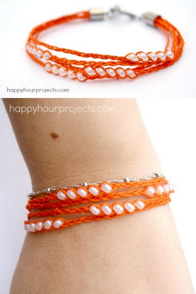 truebluemeandyou:  DIY Multi Braided Hemp Cord Wish Bracelet Tutorial from Happy Hour Projects here. If you can braid three cords you can make this bracelet. I like it because it looks like a wrap bracelet but is isn't because Adrianne used end caps. You could even add more braids if you wanted to. I posted Adrianne's original wish bracelet (the type that is tied on that eventually falls off) here and her wish ankle bracelet here.