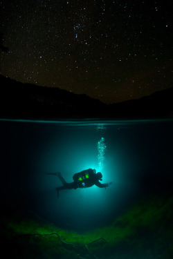 "magicalnaturetour:  ""Diving Under the Stars"" – Blue Lake, Caucasus, Kabardino – Balkaria, Russia – Viktor Lyagushkin"