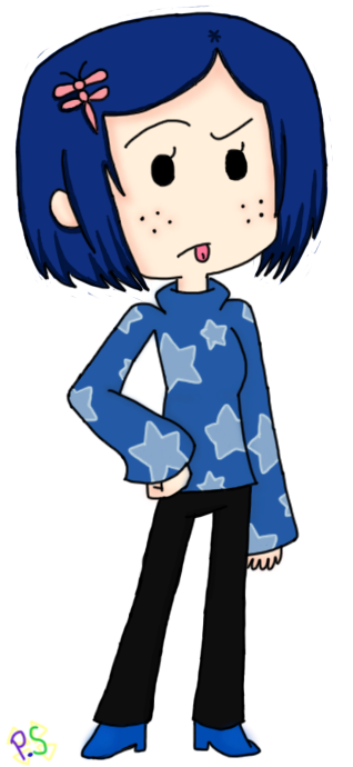 Chibi Coraline by *PocketSeal