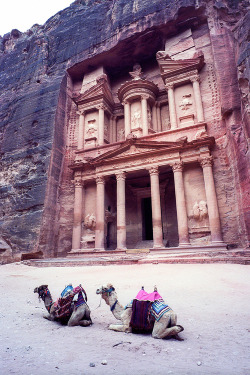 petite-conne:  outstandingplaces:  Petra, Jordan - An ancient city of Jordan built around 1200BC. By redirecting waterways it was possible to build this amazing place.   Home <3 Been there 13 times