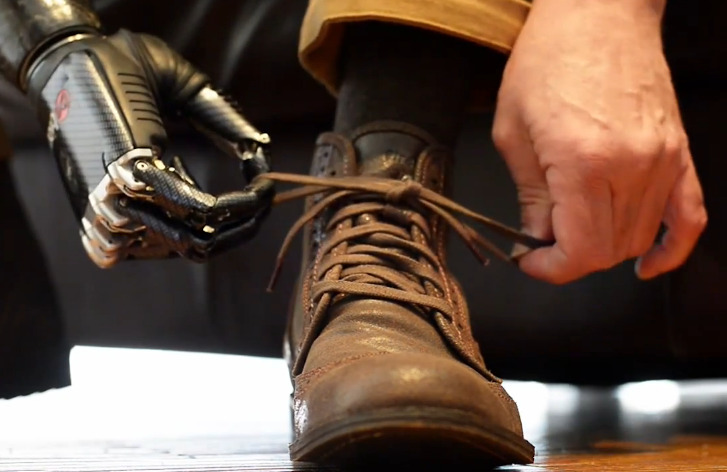 Man Ties His Shoes and Deals Cards With Terminator-Like bebionic3 Prosthetic Hand