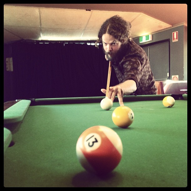 Playing pool up in Bangalow…..